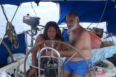 """Che Capitan"" (captain of the boat) teaching Edgar how to read the compass."